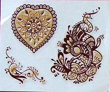 Indisches Mehndi Glitter-Tattoo Nr.10a (3 Motive mit Gold)