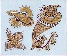 Indisches Mehndi Glitter-Tattoo Nr.14a (3 Motive mit Gold)