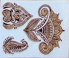 Indisches Mehndi Glitter-Tattoo Nr.16a (3 Motive mit Gold)