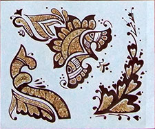 Indisches Mehndi Glitter-Tattoo Nr.17a (3 Motive mit Gold)