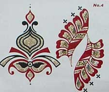 Indisches Mehndi Glitter-Tattoo Nr.4a (3 Motive mit Gold)