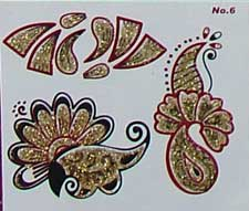 Indisches Mehndi Glitter-Tattoo Nr.6a (3 Motive mit Gold)
