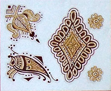 Indisches Mehndi Glitter-Tattoo Nr.7a (3 Motive mit Gold)
