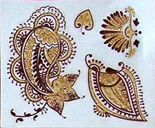 Indisches Mehndi Glitter-Tattoo Nr.9a (3 Motive mit Gold)