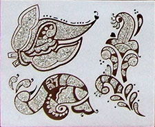 Indisches Mehndi Glitter-Tattoo Nr.13b (3 Motive in Silber)
