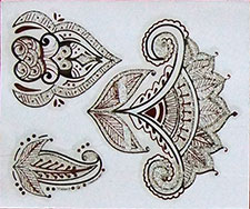 Indisches Mehndi Glitter-Tattoo Nr.16b (3 Motive in Silber)